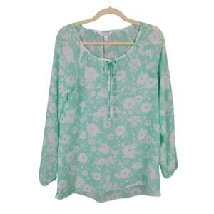 Charming Charlie Mint Green Floral Tie Blouse S
